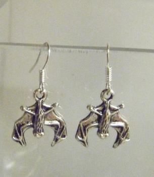 Antique Silver Tone Bat Earrings