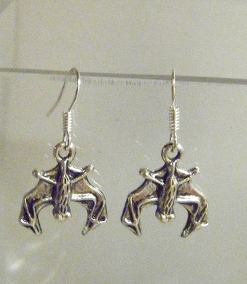 Antique Silver tone Bat Earrings