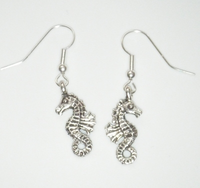 Antique Silver tone Seahorse Earrings
