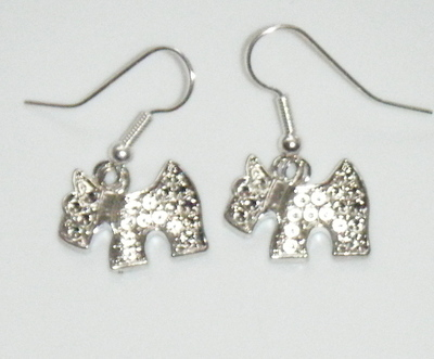 Antique Silver tone Scotty dog Earrings