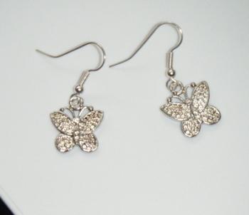 Antique Silver Tone Butterfly Earrings
