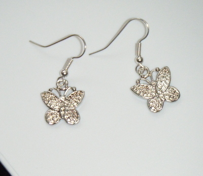 Antique Silver tone Butterfly Earrings