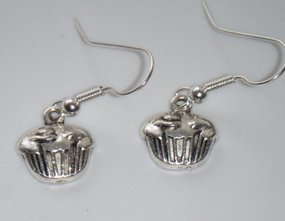 Antique Silver tone Cupcake Earrings