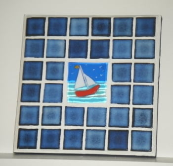 Sailing Boat Mosaic Art and Fused Glass Picture