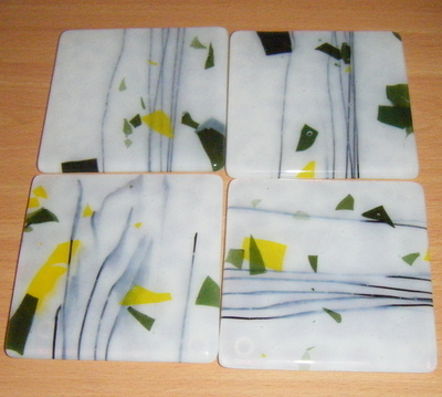 White, Green and Yellow Speckled Glass Coaster Set