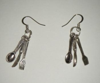Knife, Fork and Spoon Fun Dangle Earrings