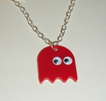 Pacman Ghost Red Acrylic Chunky Necklace