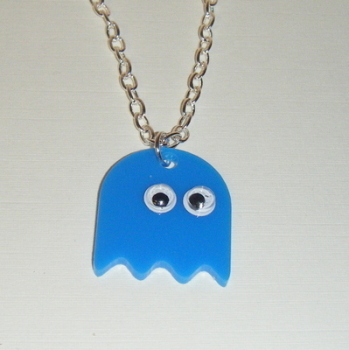 Pacman Ghost blue Acrylic Chunky Necklace