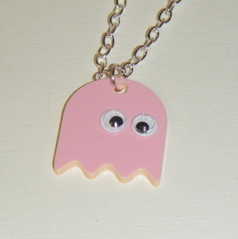 Pacman Ghost Pink Acrylic Chunky Necklace