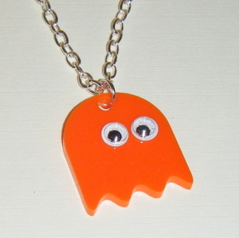 Pacman Ghost Orange Acrylic Chunky Necklace