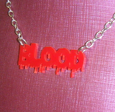 Red Blood Word Acrylic Chunky Necklace