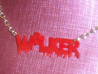 Red WALKER word Acrylic Chunky Necklace