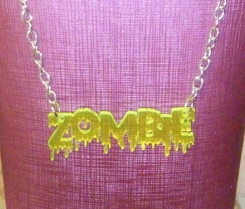 Florescent Green/Yellow ZOMBIE Word Acrylic Chunky Necklace
