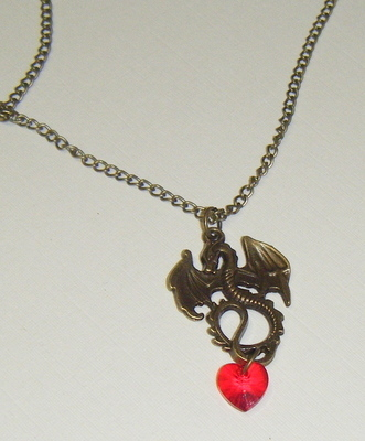 Necklace - Bronze tone - Dragon Heart Pendant
