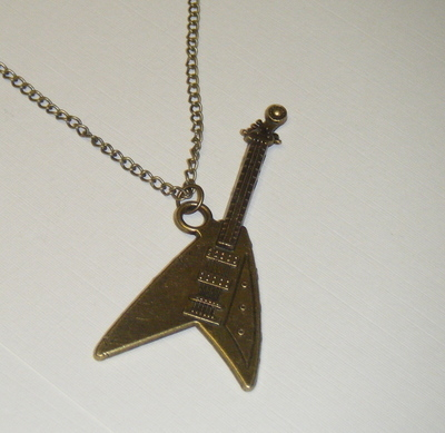 Necklace - Bronze tone - Rock Guitar Pendant