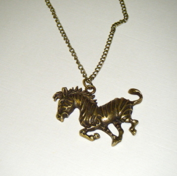Necklace - Bronze tone - Large Zebra Pendant