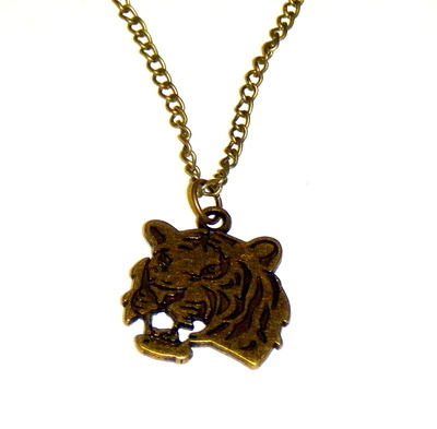 Necklace - Bronze tone - Tiger face Pendant