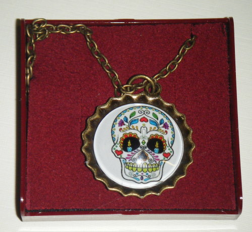 Necklace - Bronze tone - Sugar Skull Pendant