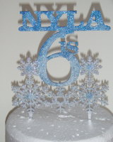Snowflake Themed Personalised Cake Topper
