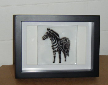 Black and White Zebra - Framed Glass Picture Tile