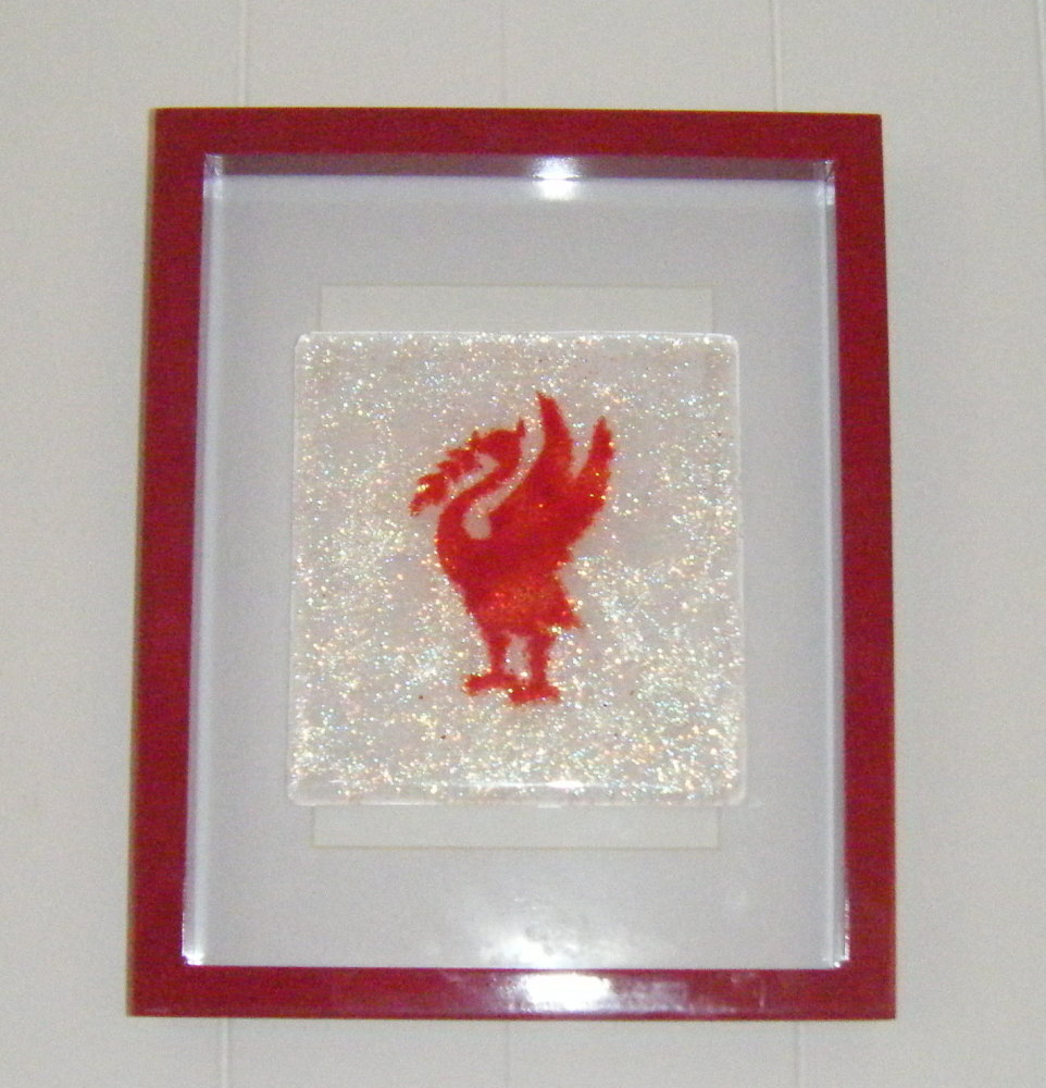 Red Liverbird Liverpool -  Art Glass Picture frame