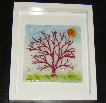 Copper Infused Tree -  Art Glass Picture frame
