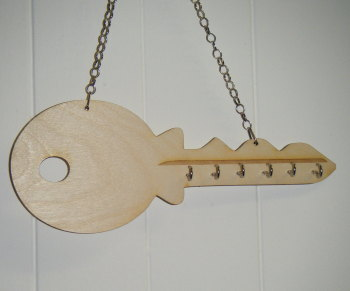 Wooden Keyholder in key shape
