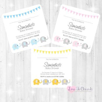 Elephants & Hearts Invitations - Baby Shower Design