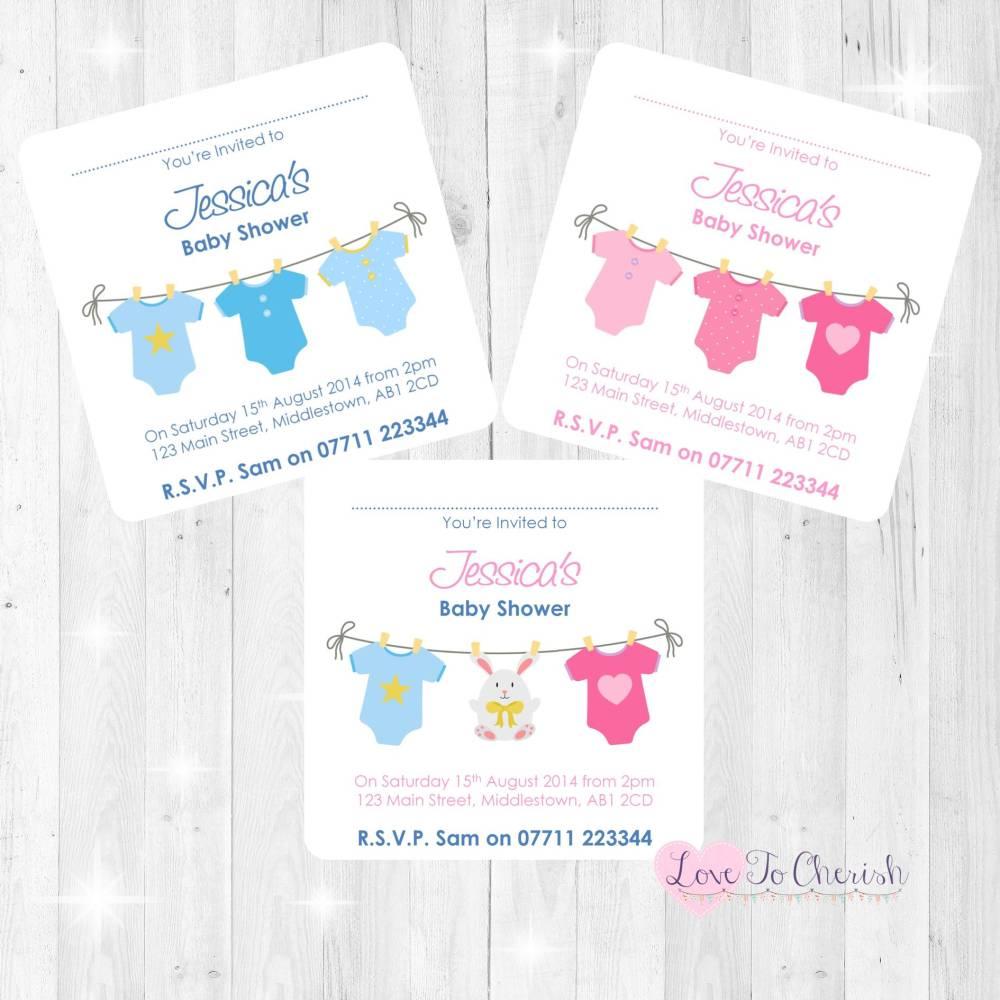 Pink & Blue Vest Line Baby Shower Invites