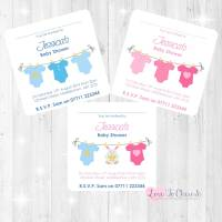Pink & Blue Vest Line Invitations - Baby Shower Design