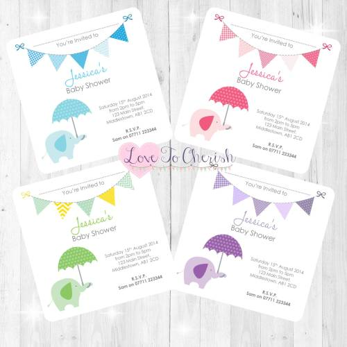 Elephant with Umbrella Baby Shower Invites