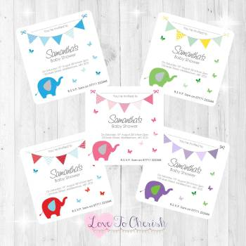 Elephant & Butterflies Invitations - Baby Shower Design