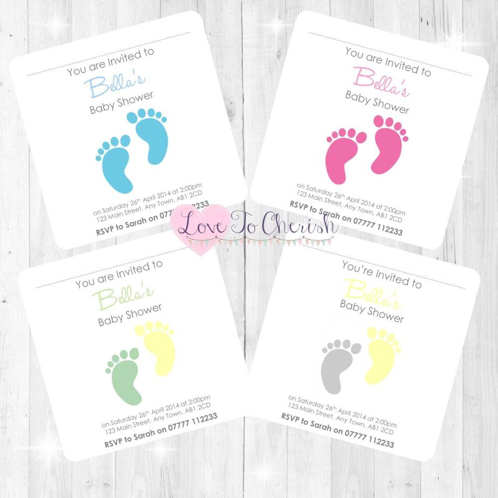 Tiny Feet Baby Shower Invites