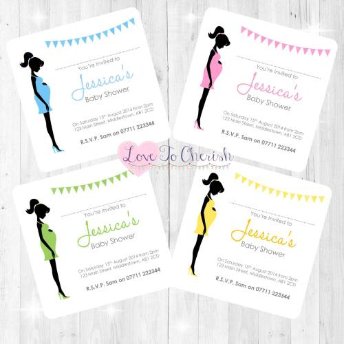 Mummy Bump Baby Shower Invites
