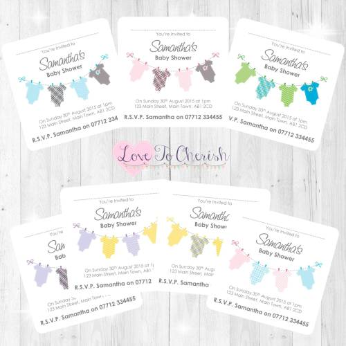 Onsie/Vest Clothes Line Baby Shower Invites