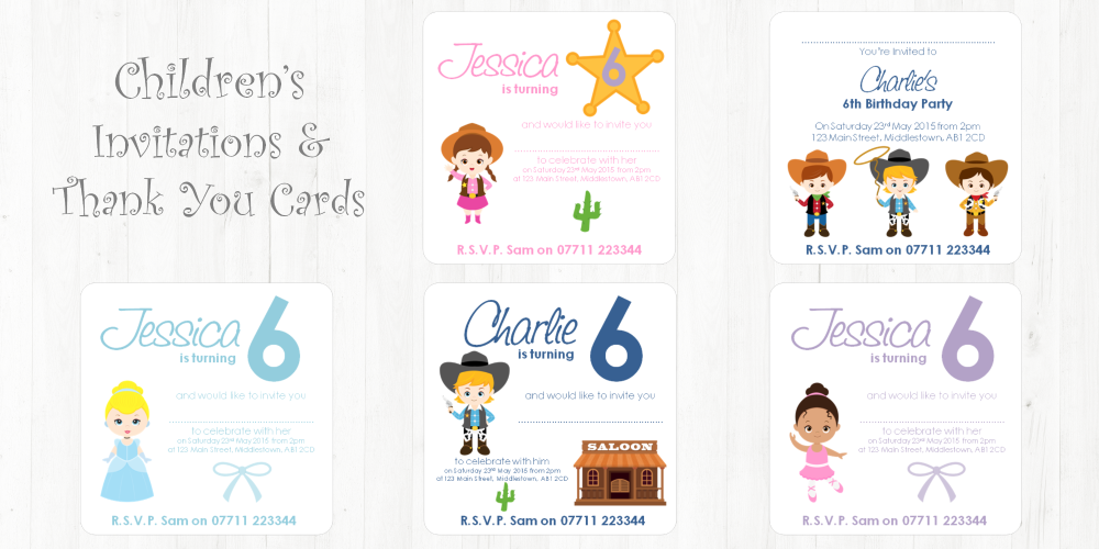 children's invites & thank you cards