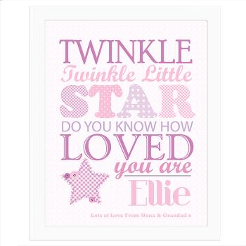 Twinkle Girl's White Frame Poster