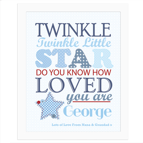 Twinkle Boy's White Frame Poster