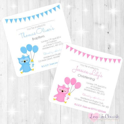 Cute Owl Christening Invites