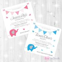 Elephant & Butterflies Christening/Baptism Invitations & Thank You Cards