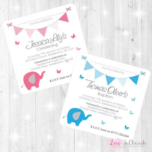 Elephant & Butterflies Christening Invites