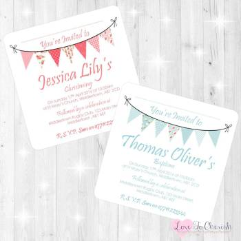 Shabby Chic Bunting Christening/Baptism Invitations & Thank You Cards