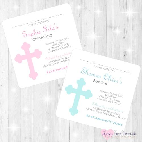 Cross Design Christening Invites