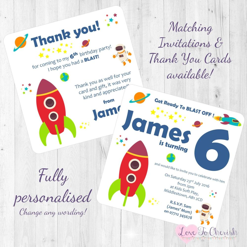 Rocket Space Ship Party Invites & Thank You Cards