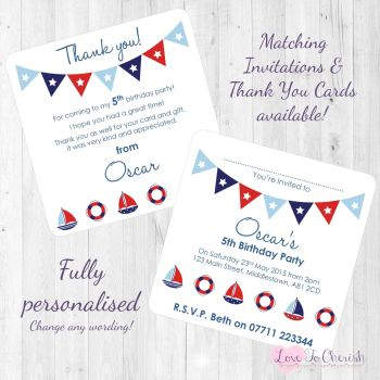 Sail Boats & Buoys Nautical Themed Party Invitations & Thank You Cards