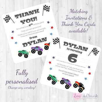 Monster Trucks Party Invitations & Thank You Cards
