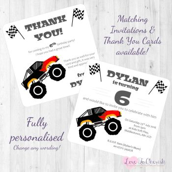 Big Monster Truck Party Invitations & Thank You Cards