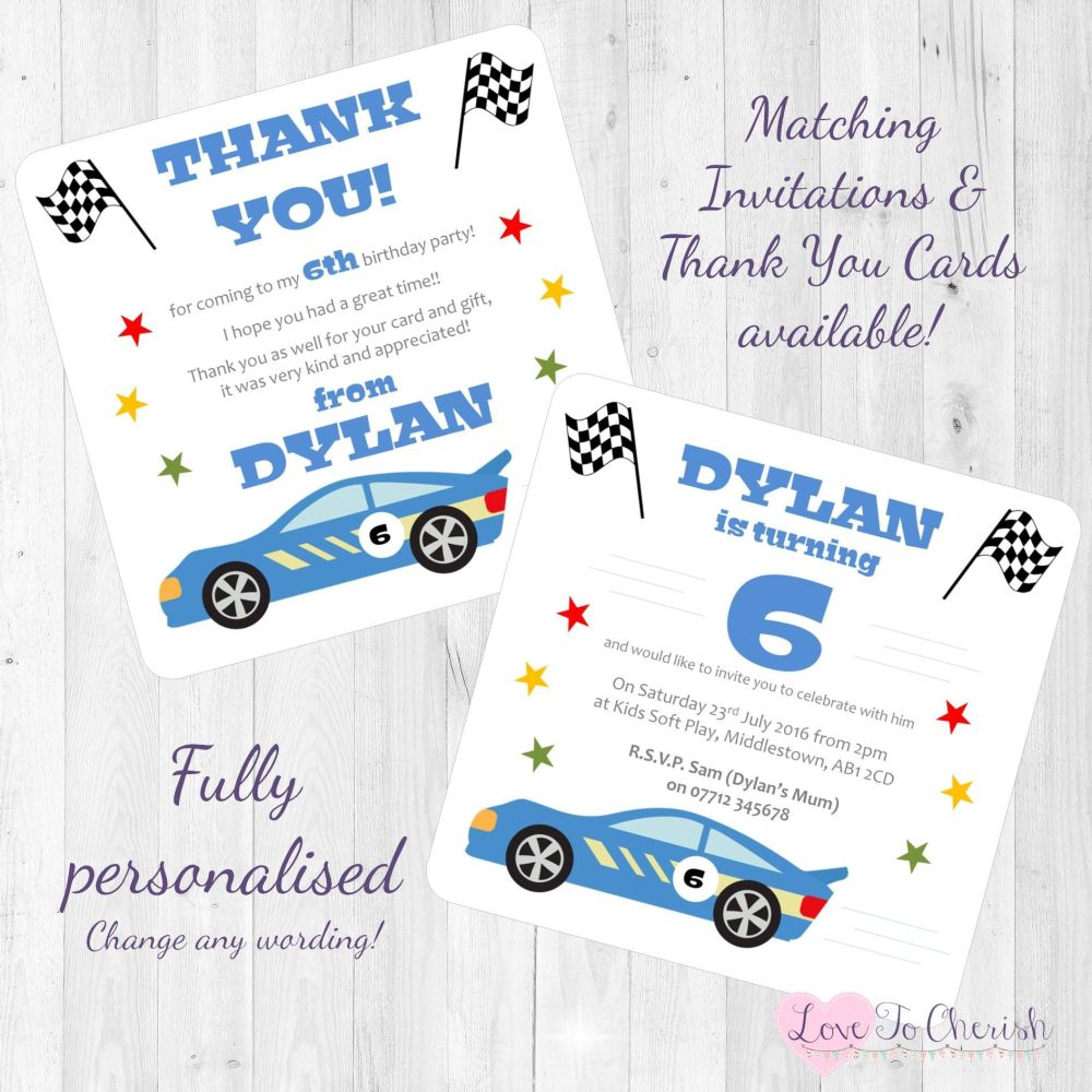 Racing Car Invites
