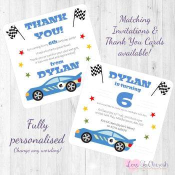 Racing Car Party Invitations & Thank You Cards
