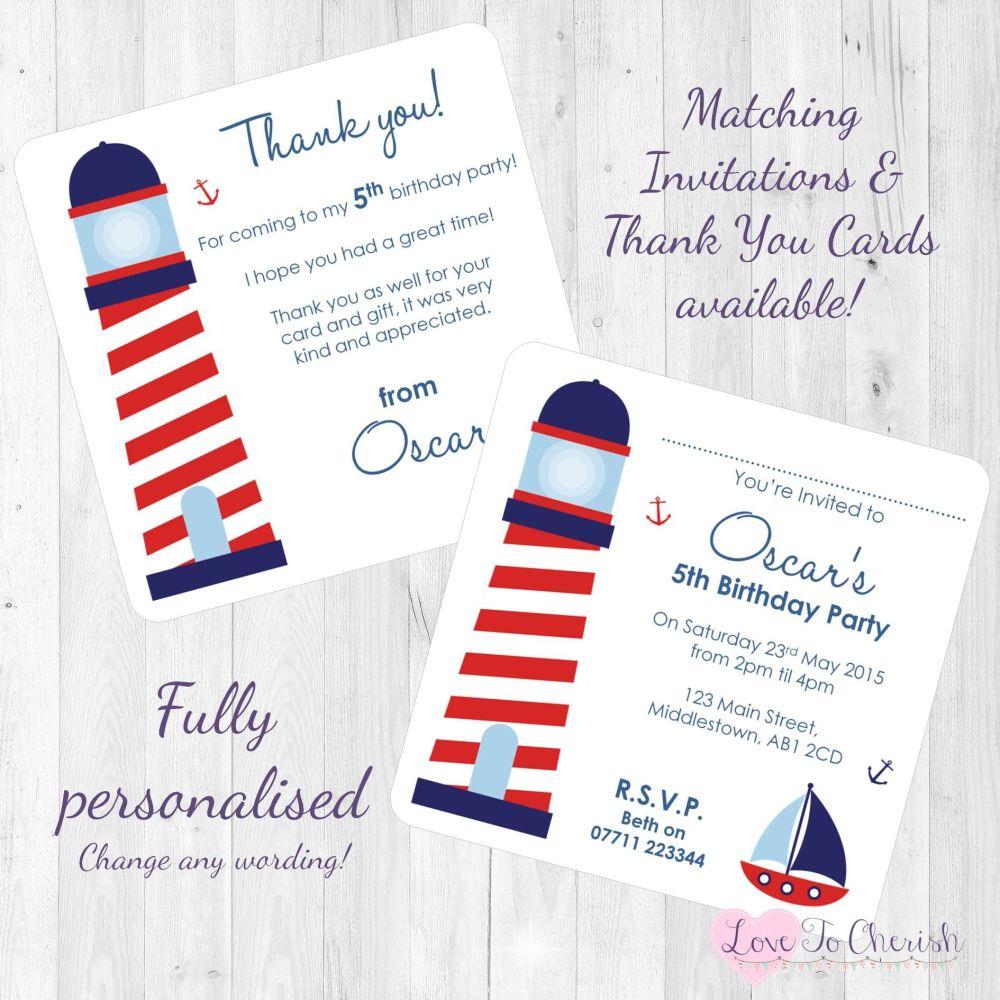 Lighthouse Nautical Themed Invites